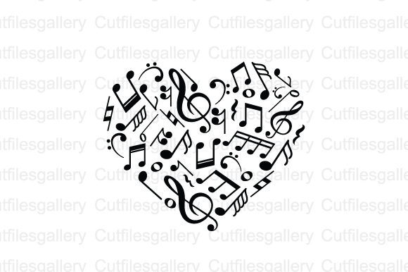 Heart Music Note SVG Graphic Crafts By cutfilesgallery