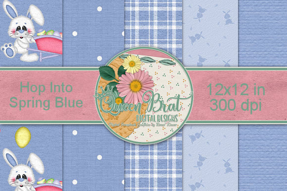 Print on Demand: Hop into Spring Blue Backgrounds Graphic Backgrounds By QueenBrat Digital Designs