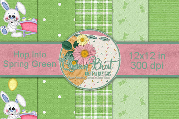 Print on Demand: Hop into Spring Green Backgrounds Graphic Backgrounds By QueenBrat Digital Designs