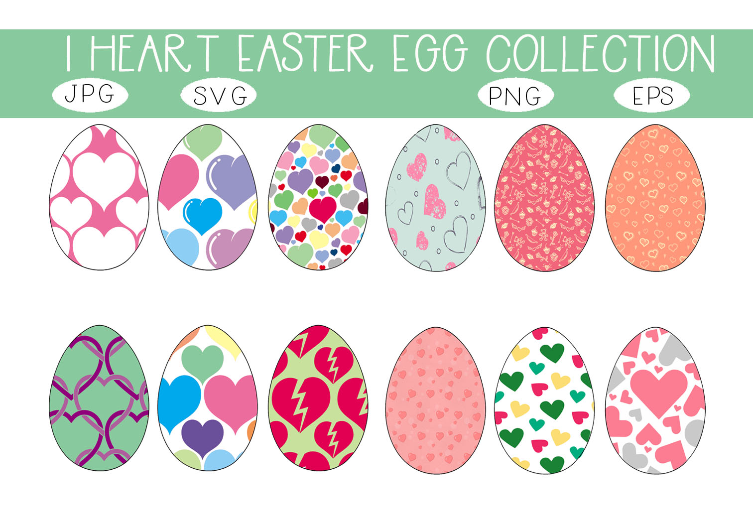 Download Free I Heart Easter Eggs Collection Graphic By Capeairforce for Cricut Explore, Silhouette and other cutting machines.