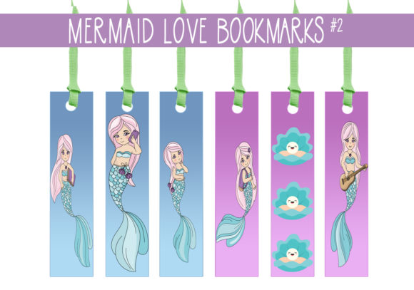 Print on Demand: I Love Mermaid Bookmarks    #2 Graphic Print Templates By capeairforce