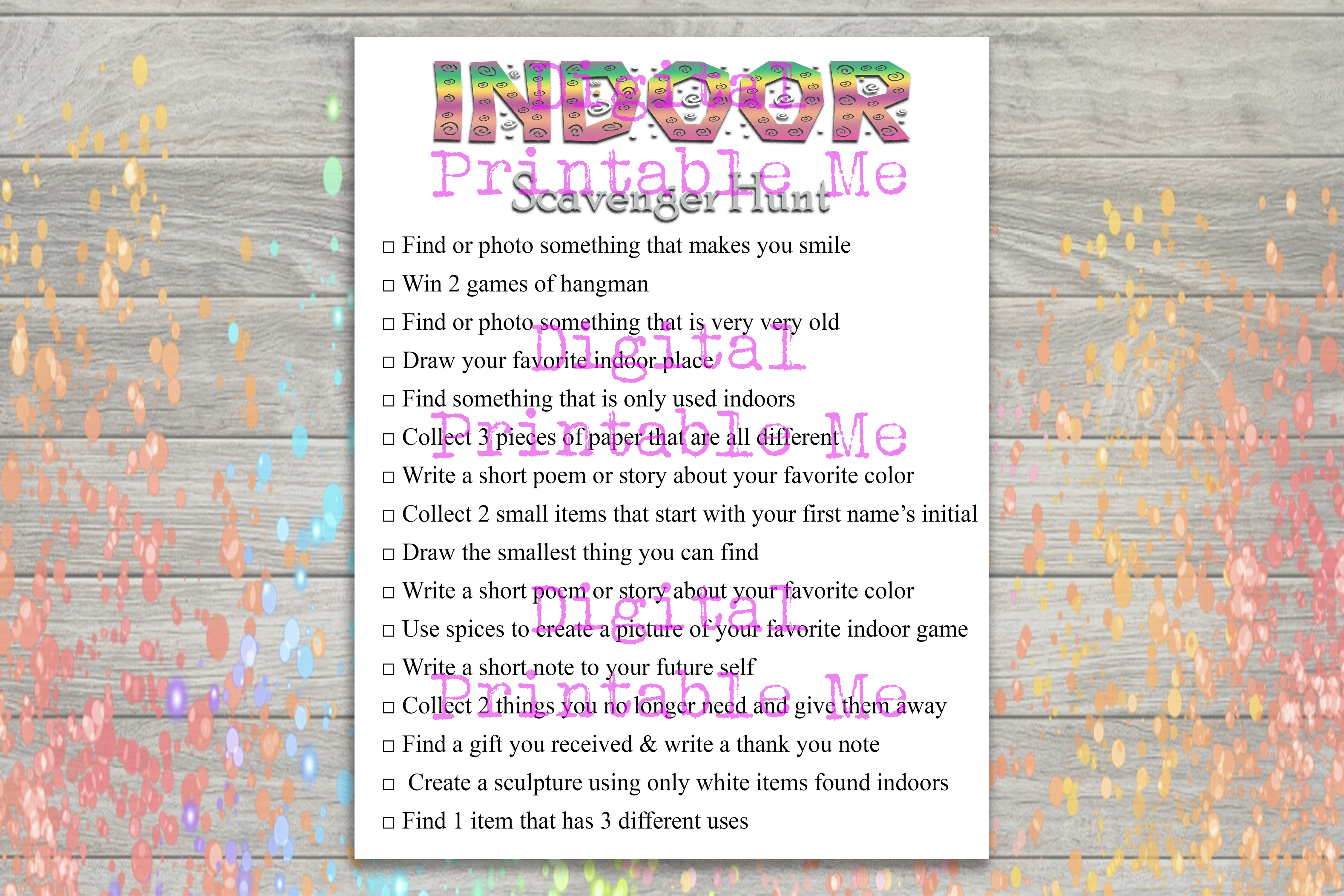 Download Free Indoor Scavenger Hunt Party Game Kids Graphic By for Cricut Explore, Silhouette and other cutting machines.