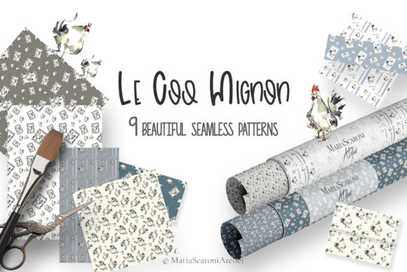 Print on Demand: Le Coq Mignon - Watercolor Patterns Graphic Patterns By MariaScaroniAtelier