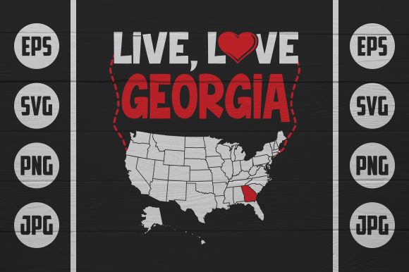 Download Free Live Love Georgia Graphic By Zaibbb Creative Fabrica for Cricut Explore, Silhouette and other cutting machines.