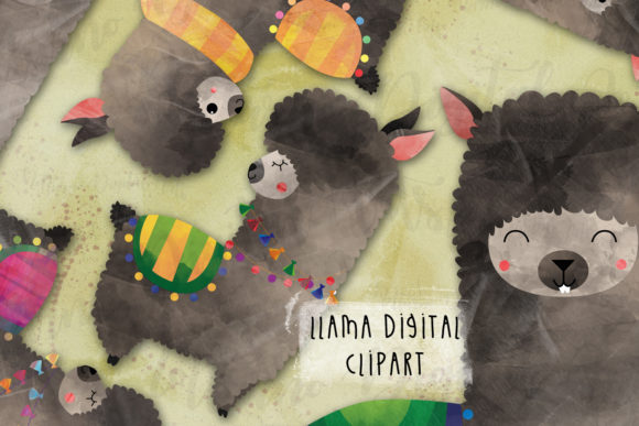 Llama Alpaca Digital Clipart Graphic Crafts By NotturnoClipArt