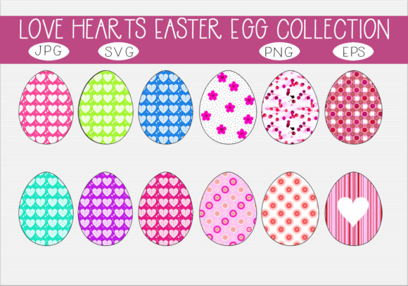 Download Free Love Hearts Easter Egg Collection Graphic By Capeairforce for Cricut Explore, Silhouette and other cutting machines.