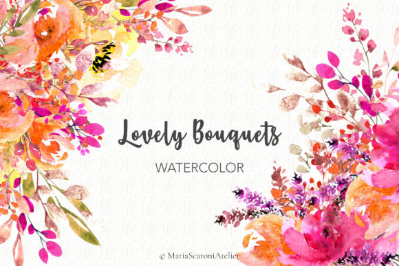 Print on Demand: Lovely Bouquets - Watercolor Graphic Illustrations By MariaScaroniAtelier