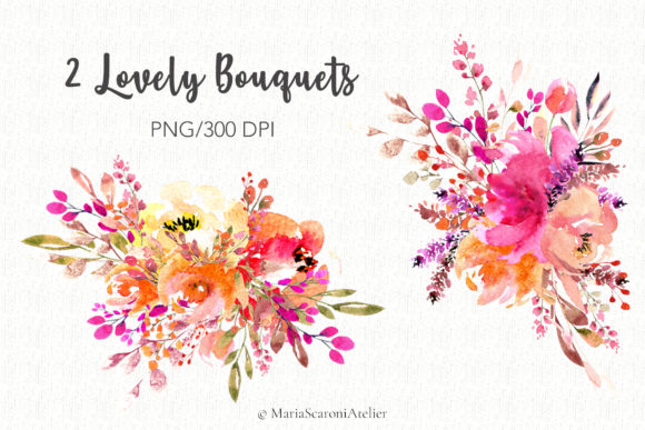 Print on Demand: Lovely Bouquets - Watercolor Graphic Illustrations By MariaScaroniAtelier - Image 2