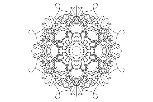 Print on Demand: Mandala Coloring Page Vector Outline Graphic Coloring Pages & Books Adults By GraphicsFarm