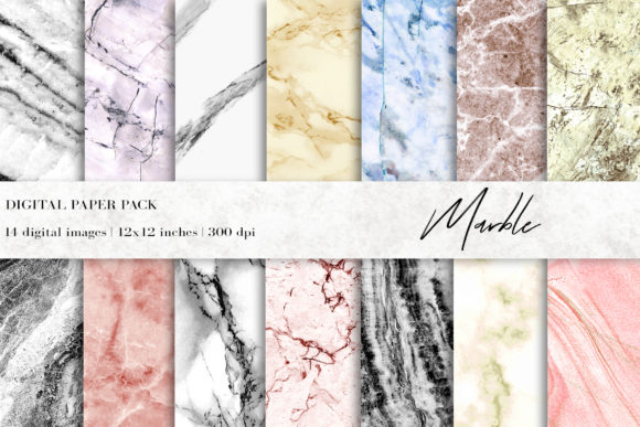 Marble Digital Papers, Marble Background Graphic Textures By BonaDesigns