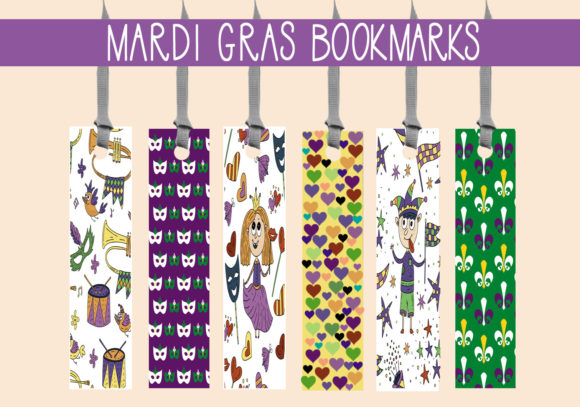 Print on Demand: Mardi Gras Party Bookmarks   #1 Graphic Print Templates By capeairforce