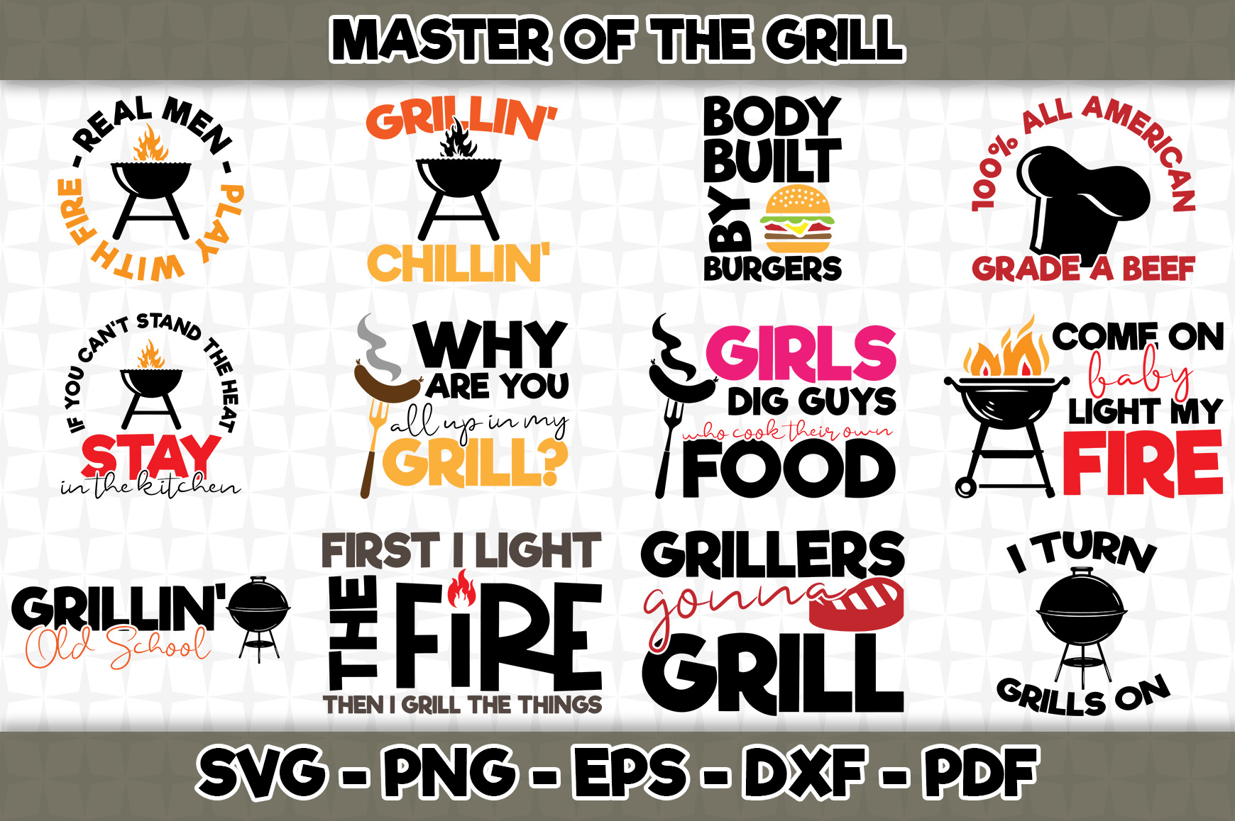 Download Free Master Of The Grill Bundle Pack Graphic By Svgexpress for Cricut Explore, Silhouette and other cutting machines.