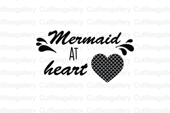 Download Free Mermaid At Herat Svg Graphic By Cutfilesgallery Creative Fabrica for Cricut Explore, Silhouette and other cutting machines.