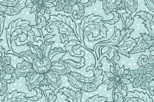 Mint Green Chintz Flora Pattern Graphic By Emikundesigns