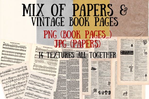 Mix of Vintage Book Pages & Papers Graphic Textures By My Little Black Heart
