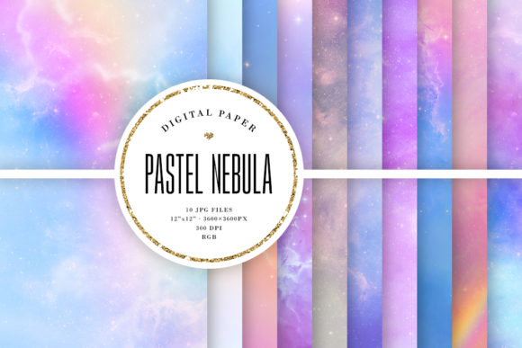 Print on Demand: Nebula Backgrounds - Pastel Space Graphic Backgrounds By Sabina Leja