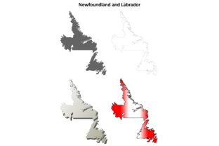 Newfoundland and Labrador Blank Map Set Graphic Illustrations By davidzydd