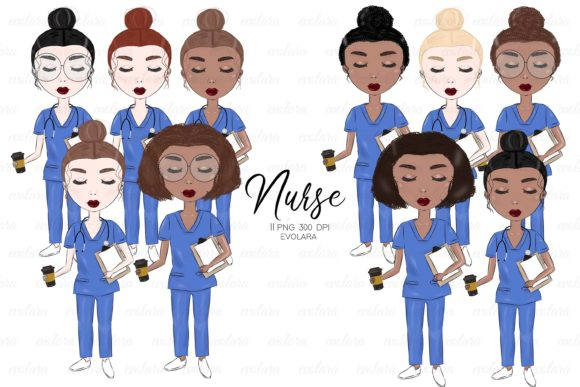 Nurse Clipart Medical Clipart Hospital Graphic Illustrations By evolara