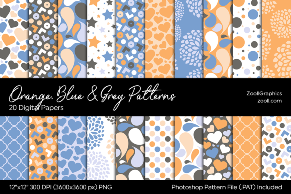 Orange, Blue and Grey Digital Papers Graphic Patterns By ZoollGraphics