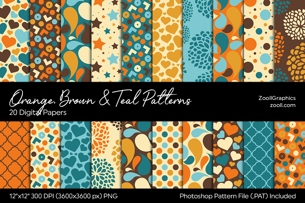 Download Free Orange Brown Teal Digital Papers Graphic By Zoollgraphics for Cricut Explore, Silhouette and other cutting machines.