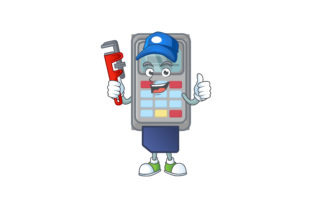 POS Machine Cartoon Character Style Graphic Illustrations By KongVector2020