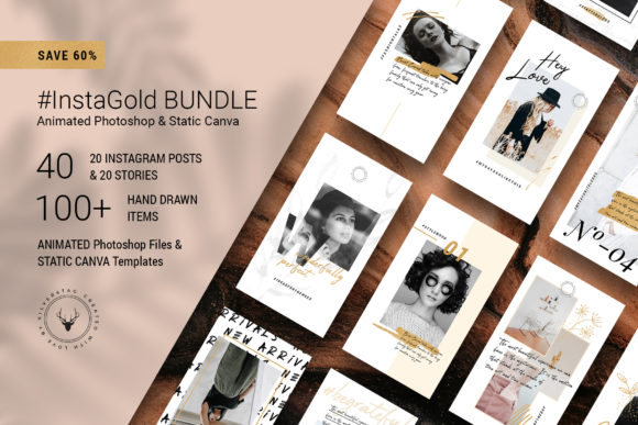 Print on Demand: PS & Canva #InstaGold Bundle Graphic Websites By SilverStag