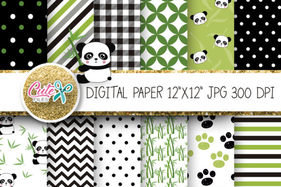 Panda Bear Digital Paper for Scrapbookin Graphic Textures By Cute files