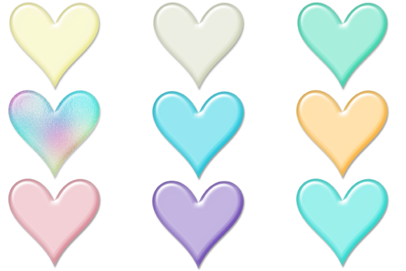 Print on Demand: Pastel Gloss Heart Graphic Print Templates By AM Digital Designs