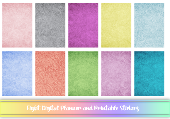 Print on Demand: Pastel Leather Texture Digital Stickers Graphic Print Templates By AM Digital Designs