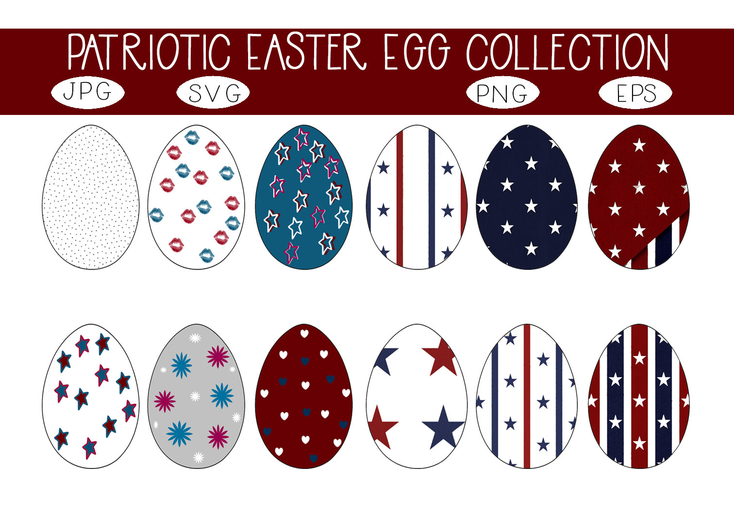 Download Free Patriotic Easter Egg Collection Graphic By Capeairforce for Cricut Explore, Silhouette and other cutting machines.