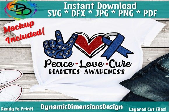 Print on Demand: Peace Love Cure Diabetes Awareness Graphic Crafts By dynamicdimensions