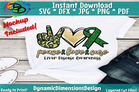 Download Free Peace Love Cure Liver Disease Graphic By Dynamicdimensions for Cricut Explore, Silhouette and other cutting machines.