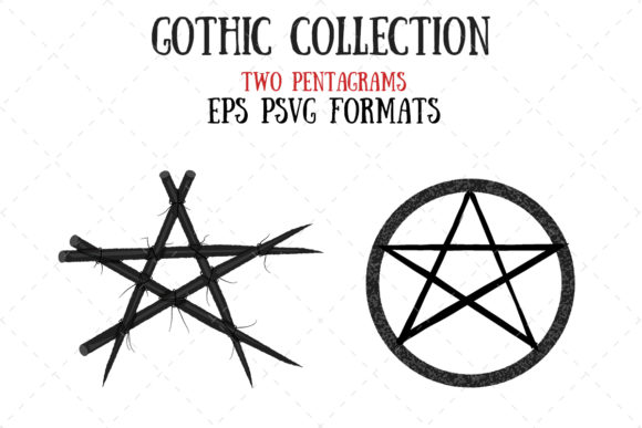 Pentgram or Pentacle Graphic Illustrations By My Little Black Heart