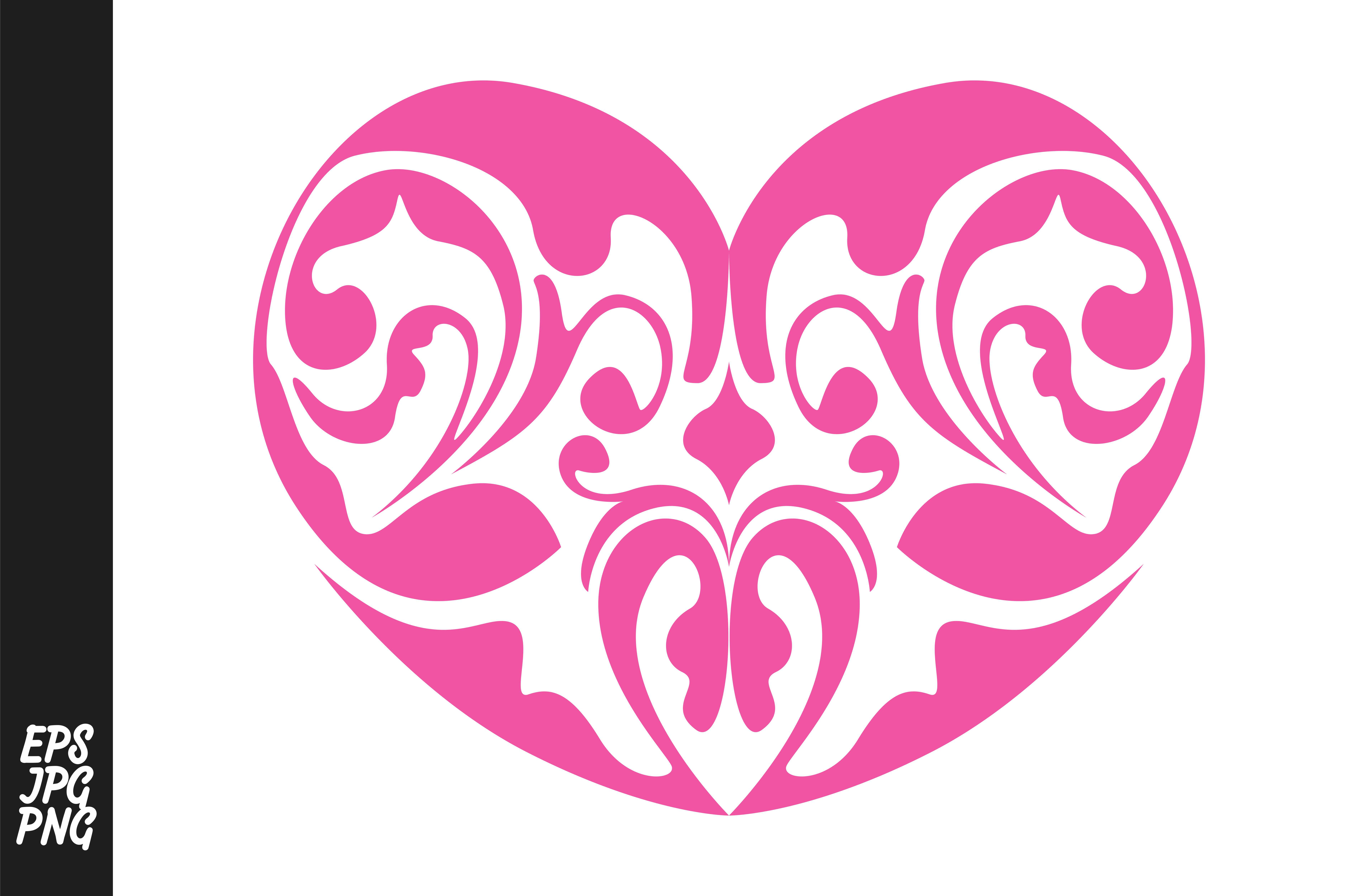 Download Free Pink Love Heart Ornament Decoration Graphic By Arsa Adjie for Cricut Explore, Silhouette and other cutting machines.