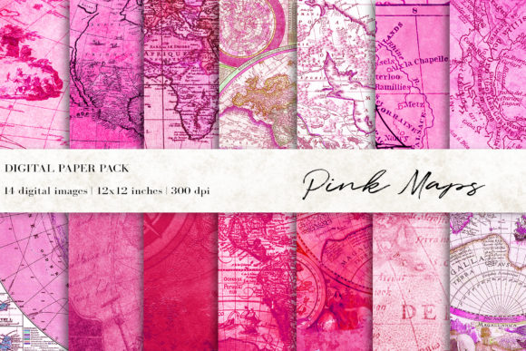 Pink Maps Digital Paper Graphic Textures By BonaDesigns