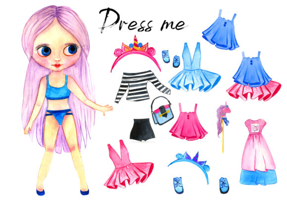 Pink Paper Doll with Clothes for Change Graphic Illustrations By ElenaZlataArt