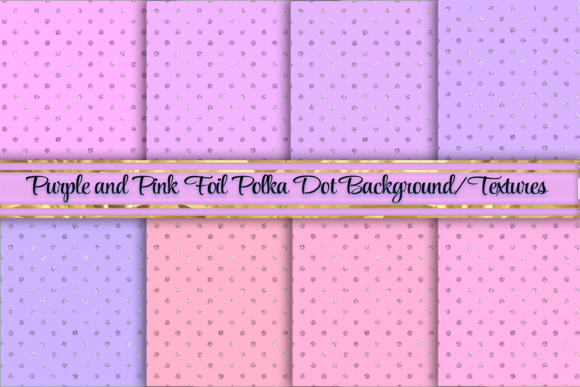 Print on Demand: Pink to Purple Foil Polka Dots Textures Graphic Backgrounds By AM Digital Designs