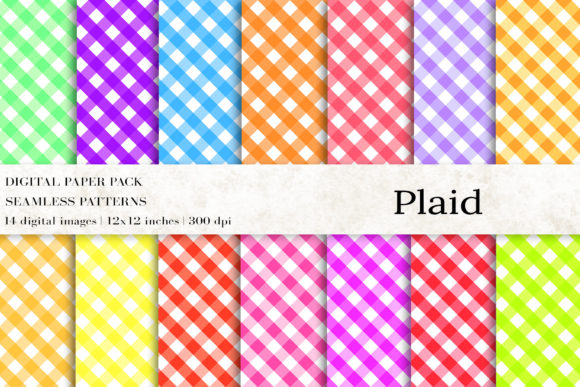 Plaid Seamless Patterns, Digital Papers Graphic Patterns By BonaDesigns