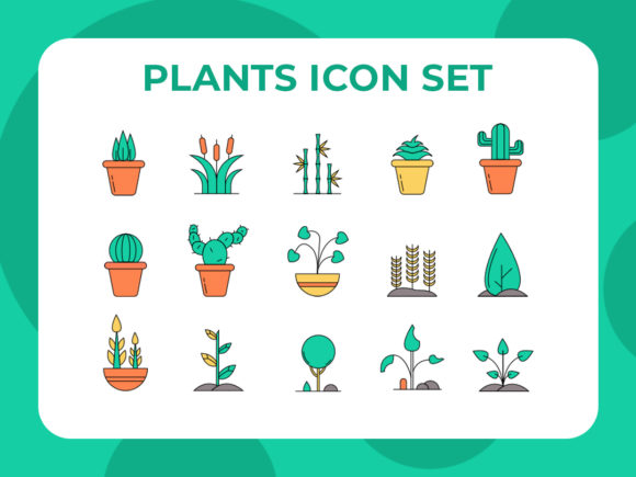 Download Free Plants Icon Set Graphic By Arus Creative Fabrica for Cricut Explore, Silhouette and other cutting machines.