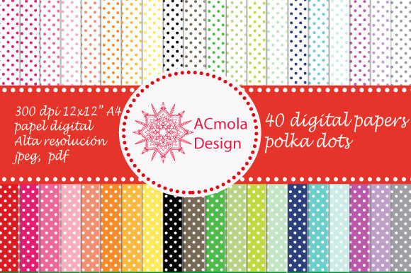 Print on Demand: Polka Dot Set 40 Styles Digital Paper Graphic Patterns By Ana Carmen Modrego Lacal