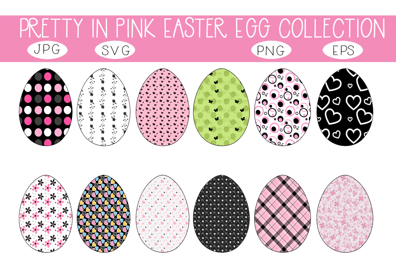 Download Free Pretty In Pink Easter Eggs Graphic By Capeairforce Creative for Cricut Explore, Silhouette and other cutting machines.