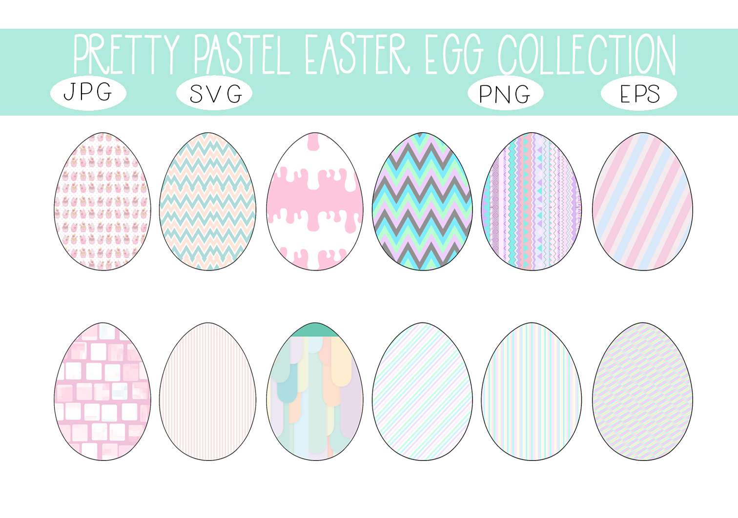Download Free Pretty Pastel Easter Egg Collection Graphic By Capeairforce for Cricut Explore, Silhouette and other cutting machines.