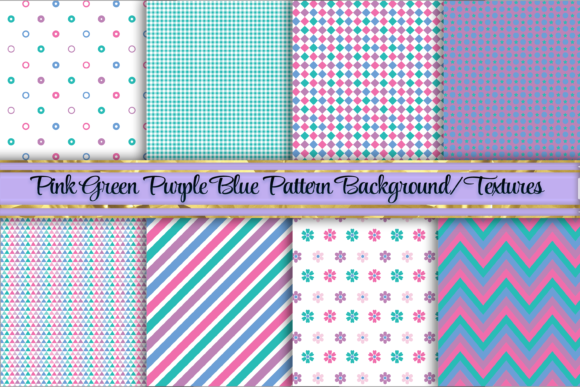 Print on Demand: Purple Green and Blue Background/Texture Graphic Backgrounds By AM Digital Designs