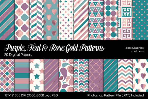 Purple, Teal & Rose Gold Digital Papers Graphic Patterns By ZoollGraphics