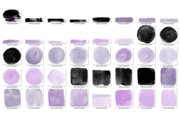 Print on Demand: Purple and Black Watercolor Elements Graphic Illustrations By Digital Curio