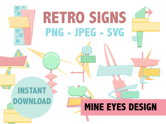 Download Free Retro Signs Mid Century Modern Design Graphic By Mine Eyes for Cricut Explore, Silhouette and other cutting machines.