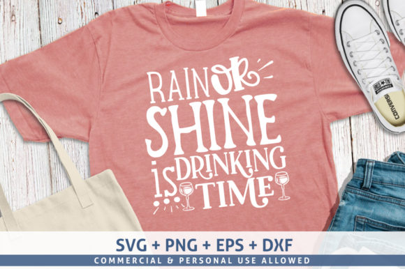 Print on Demand: Rain or Shine is Drinking Time Graphic Crafts By SubornaStudio
