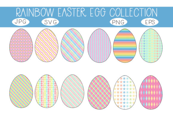 Download Free Rainbow Easter Egg Collection Graphic By Capeairforce Creative for Cricut Explore, Silhouette and other cutting machines.