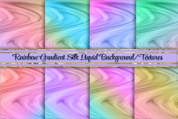 Print on Demand: Rainbow Gradient Silk Liquid Backgrounds Graphic Backgrounds By AM Digital Designs