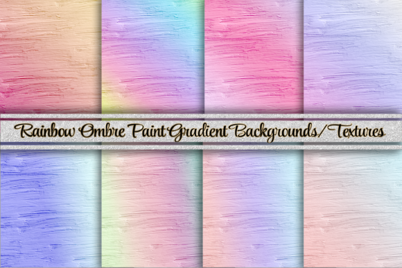 Print on Demand: Rainbow Ombre Paint Texture Gradient Graphic Backgrounds By AM Digital Designs
